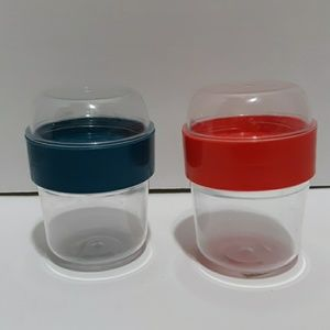 2 in 1 To Go Hard Plastic Food Bites Containers